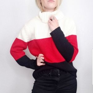 Vintage Chunky Knit Striped Color Block Sweater
